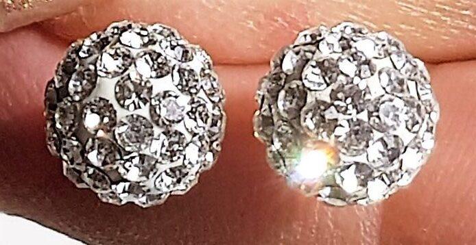 Kugle Øreringe i Guld m. Swarovski Krystal.