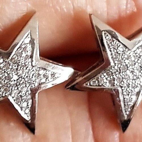 Stjerne Øreringe m. i alt 0,25 carat Diamanter sat i 14 Karat Hvidguld.