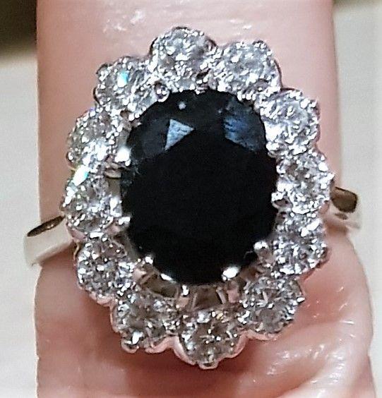 Prinsesse Diana Roset Ring m. Safir samt Total 1,20 carat Diamanter.