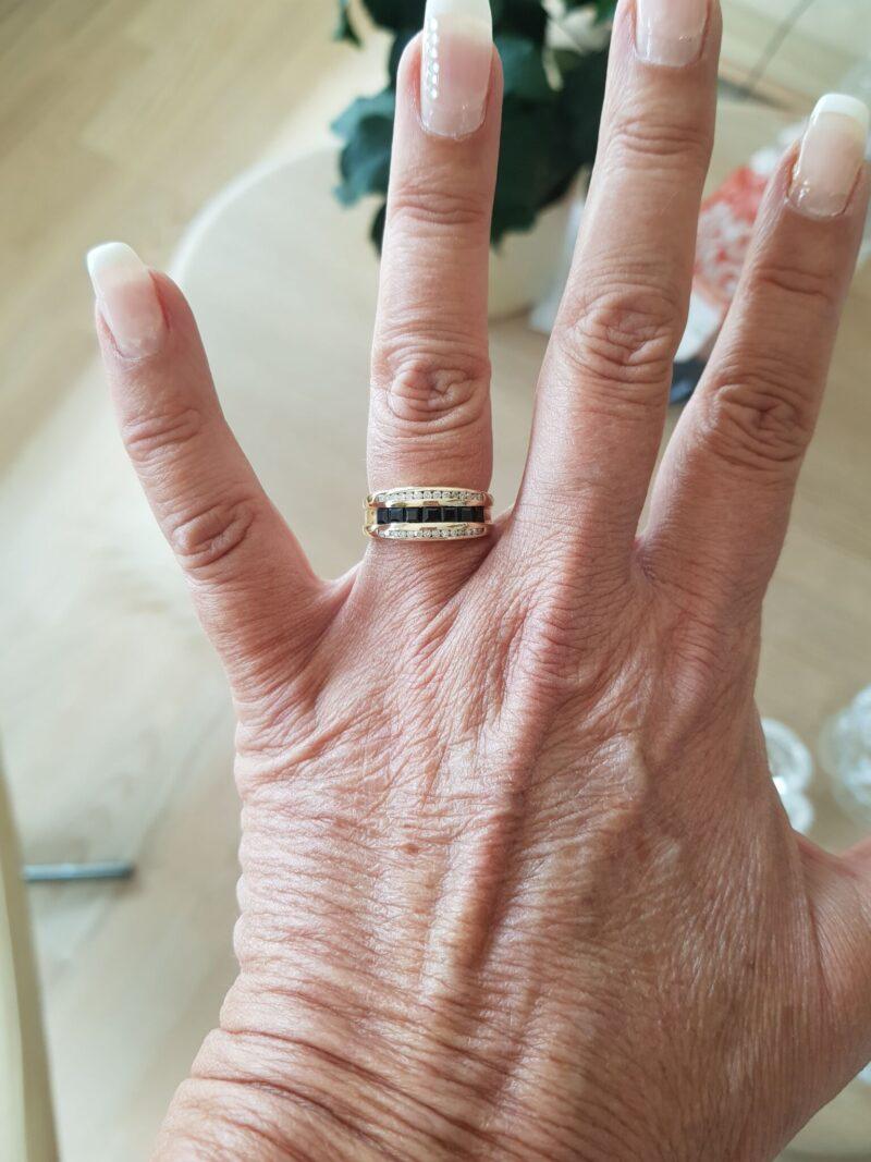 Safir/Diamant ring i Guld