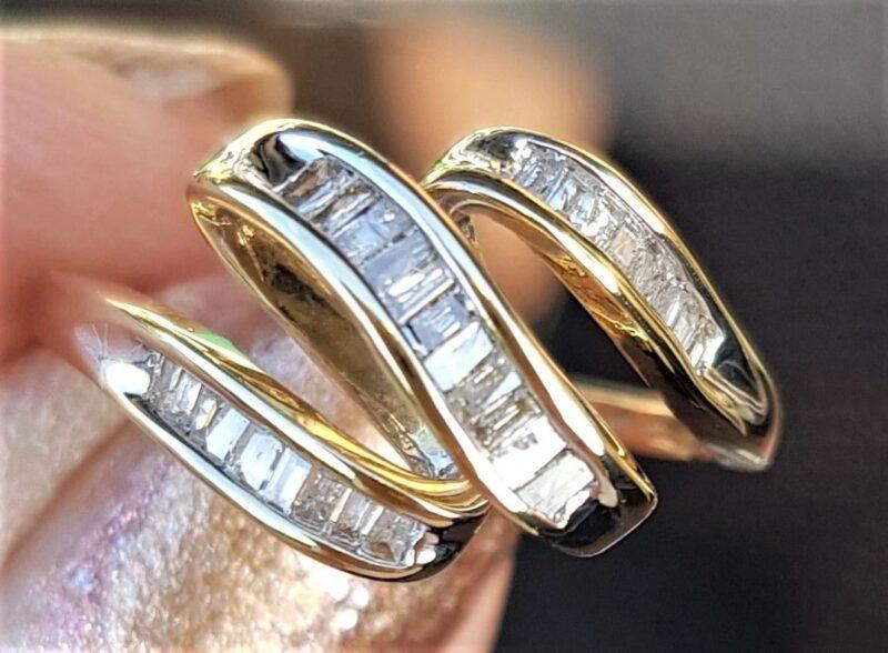 Baqett Slebet Diamant ring i Guld.