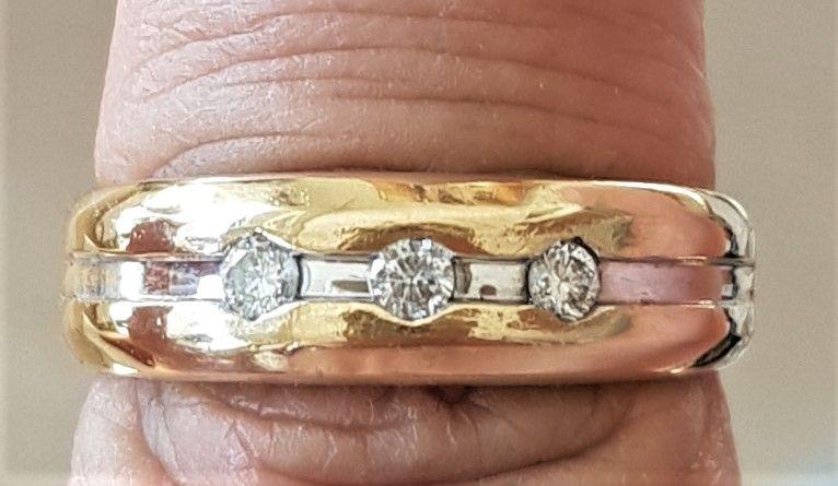 Unisex Ring m. Diamanter i 14 Karat Guld/Hvidguld.