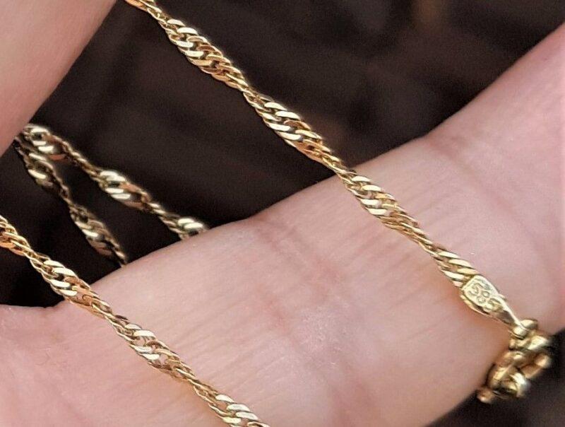 Tvistet Singapore Halskæde i 14 Karat Guld.