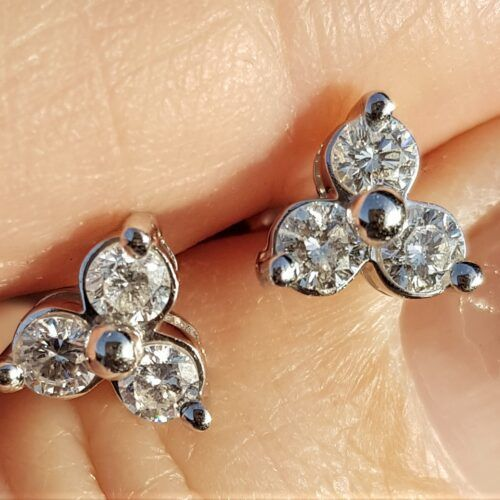 0,95 carat Diamant Øreringe i 14 Karat Hvidguld