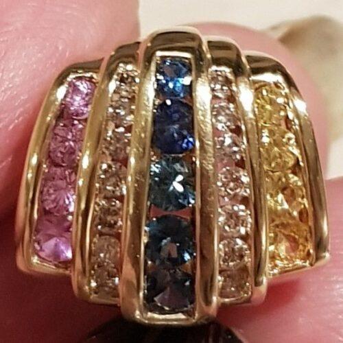 Oplukkeligt Vedhæng m. Farvede Safirer, Gyldne Citriner og Funklende diamanter i 14 Karat Guld.