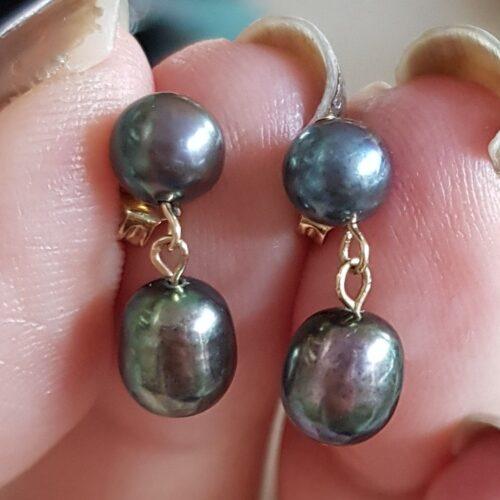 Sorte Perler Øreringe i Guld