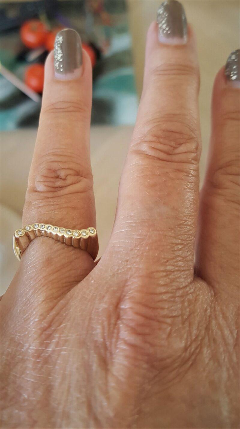 14 Karat Guld Ring m. Diamanter sat i Rør Fatninger.