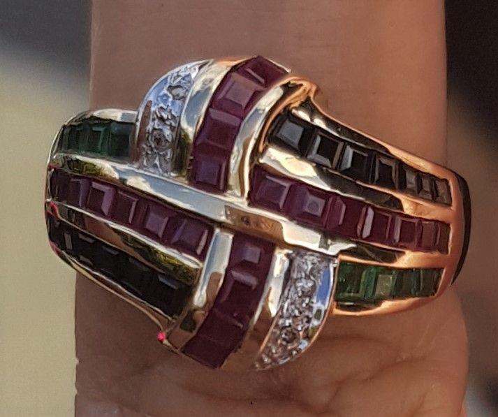 14 Karat Guld Ring m. Rubiner, Safirer og Smaragder