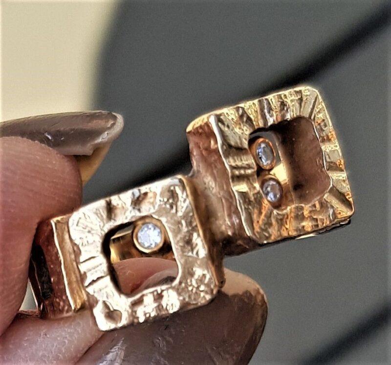Diamant Ring i Hamret Guld fra Fritz Heiring Sørensen