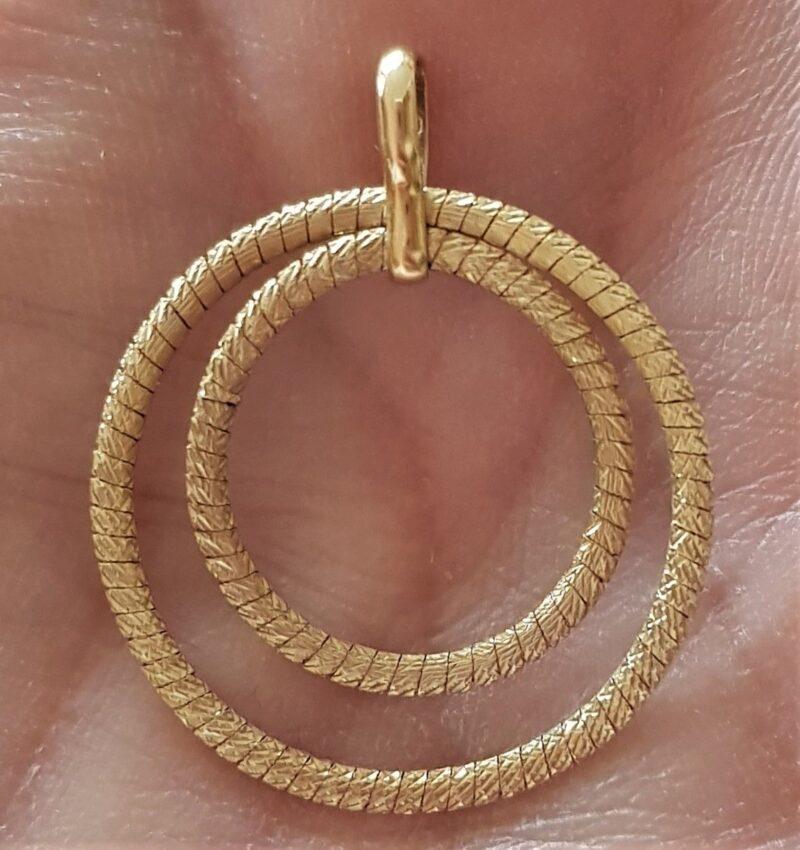 Dobbelt Eternity/Cirkel i Italiensk Vedhæng i 14 Karat Guld og Hvidguld.