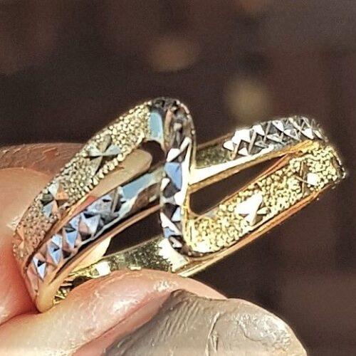 Guld/Hvidguld Ring i Diamant Cut