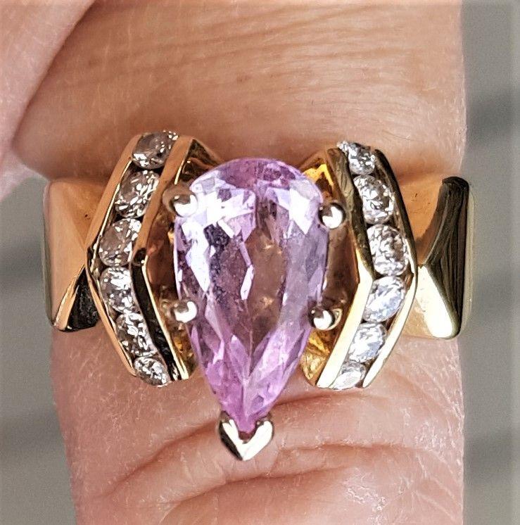 Guld Ring m. Pæreformet Rosa/Pink Topas