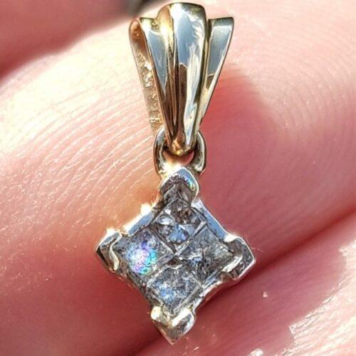 Diamant Vedhæng i 14 Karat Guld m. Champagne Farvede Diamanter Sat som Èn.