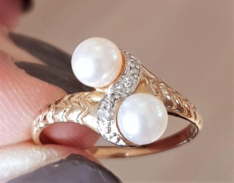 Kultur Ferskvands Perle Ring m. Diamanter i Guld.