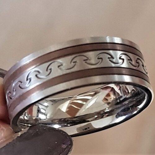 Titanium Ring m. Kobber Farve.