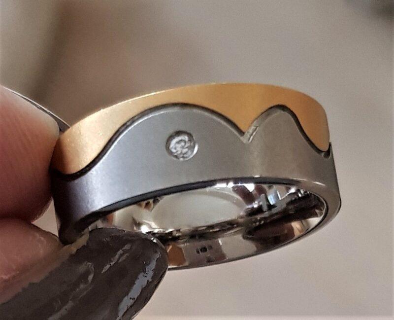 Titanium Ring m. Guld og Zirkon.