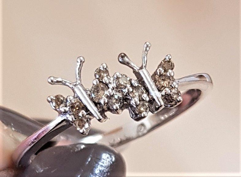 Cognac Farvet Diamant Ring i Sommerfugle Design.