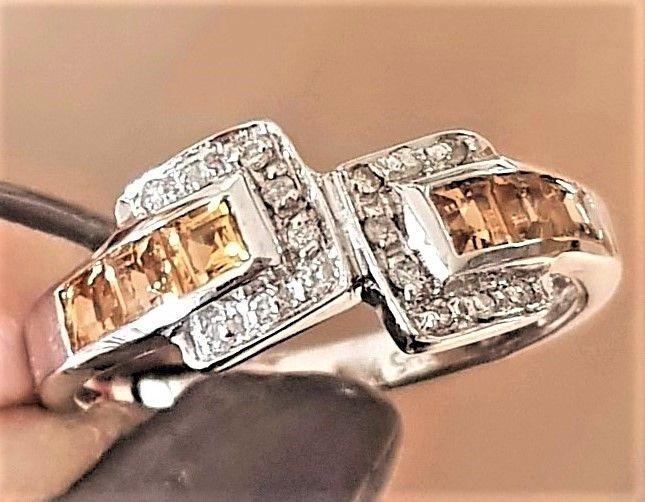 Citrine og Diamant Ring i Hvidguld