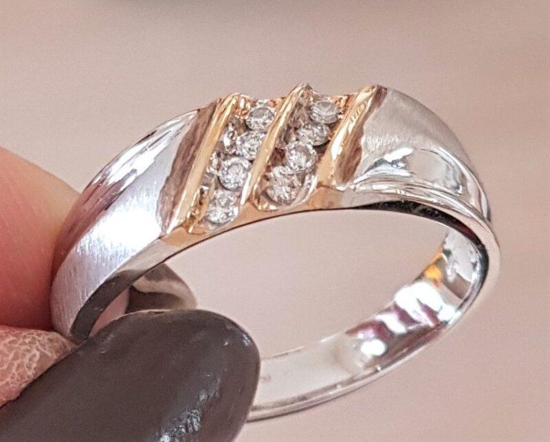 Herre Ring i Hvidguld og Guld m. Diamanter.