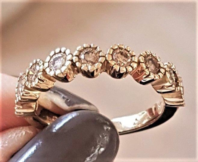 Champagne Farvet Roset Diamant Ring i Guld.Champagne Farvet Roset Diamant Ring i Guld.