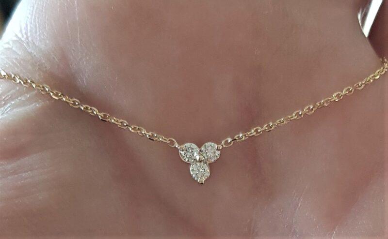 Diamant Triangle Halskæde i 14 Karat Guld