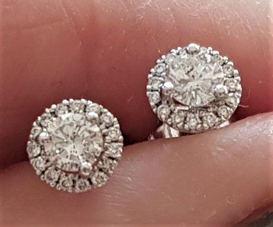 Roset Diamant Øreringe i 14 Karat Hvidguld m. Samlet 0,50 carat Diamanter.