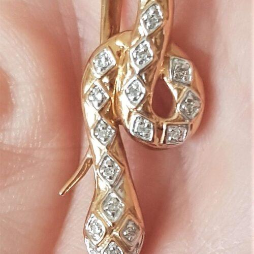 Slange Vedhæng i Guld m. Diamanter.