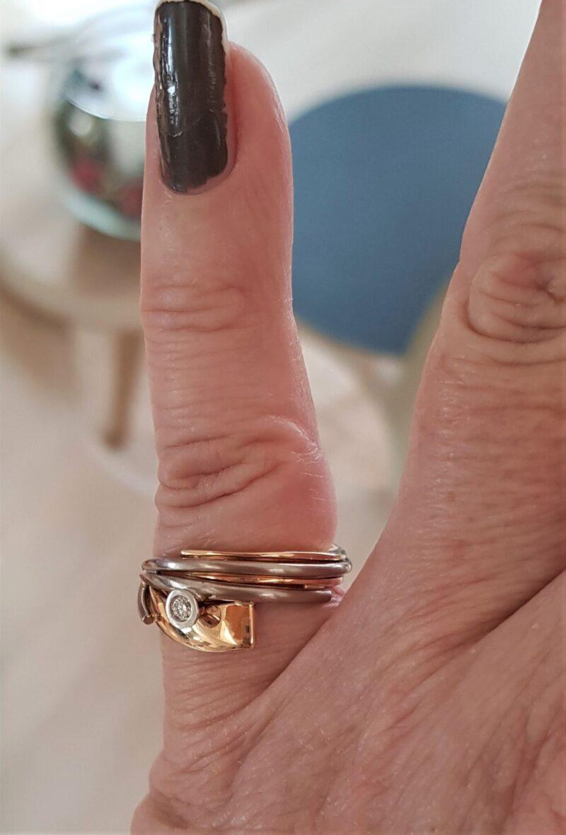 Toftegaard Diamant Ring i Guld og Rå Matteret Hvidguld.
