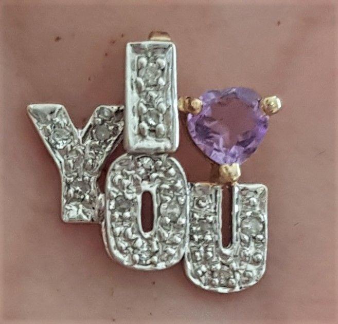 I Love You Vedhæng i Guld m. Ametyst og Diamanter.