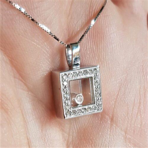 Bevægelig Diamant Vedhæng i Hvidguld