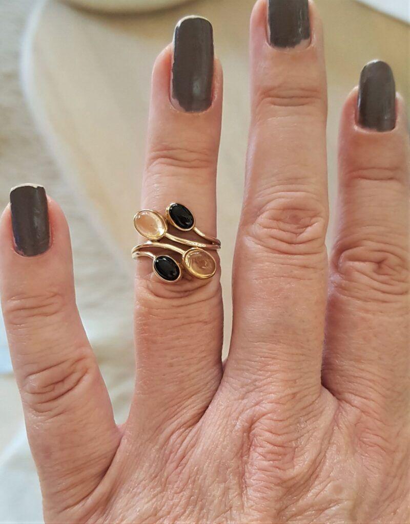 Citrine - onyx ring