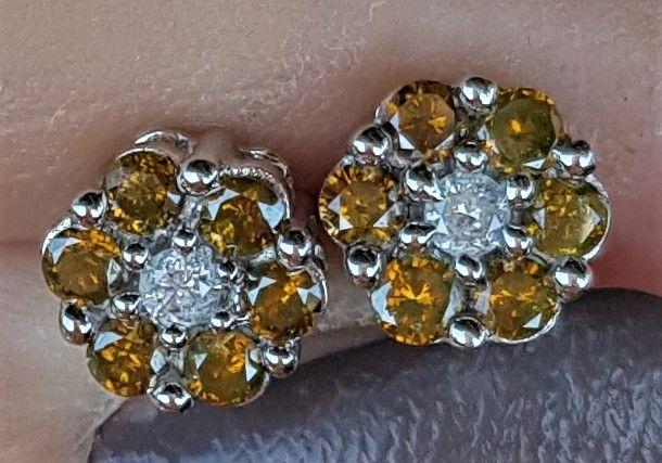 Gyldne Roset Diamant Øreringe