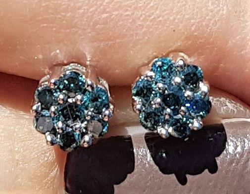 blå Diamantøreringe