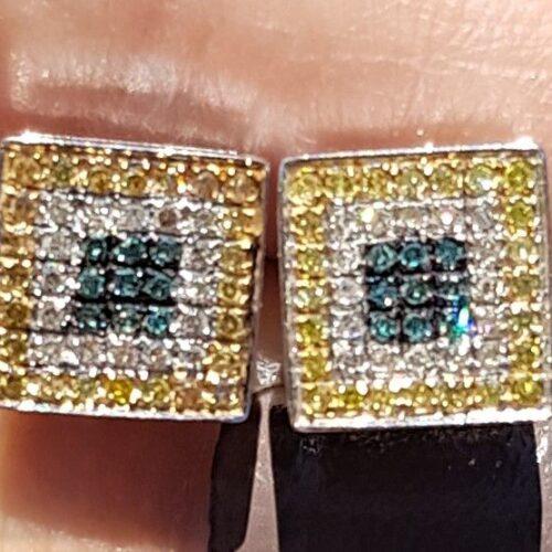 Gule-blå Diamantøreringe