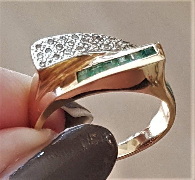 Smaragd - diamant ring