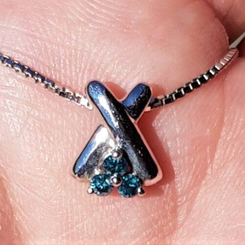 Blå Diamantvedhæng
