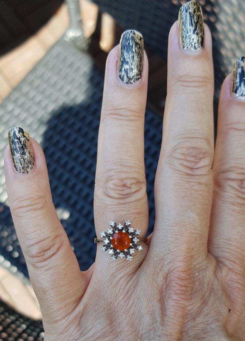 Citrin ring i hvidguld m. diamanter