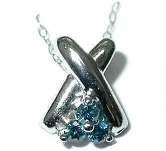 Blå Diamant Vedhæng i Hvidguld