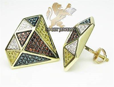 Diamant Øreringe m. Røde .Blå;.Gule og Hvide Diamanter.
