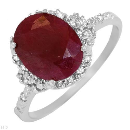 Rubin/Diamant Ring i Hvidguld.