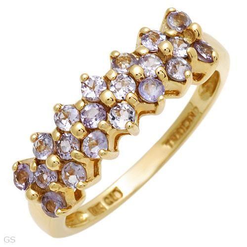 Lavendel Farvet Tanzanite Ring i 14 Karat Guld.