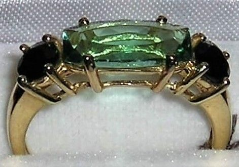 Guld Ring m. Grøn/Blå Quartz og Sort Onyx