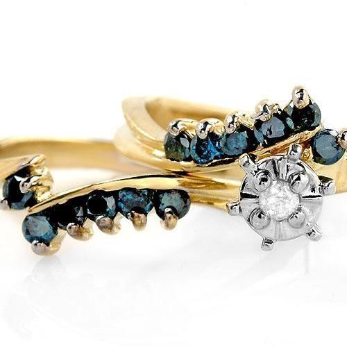 Blå diamant ring dobbelt