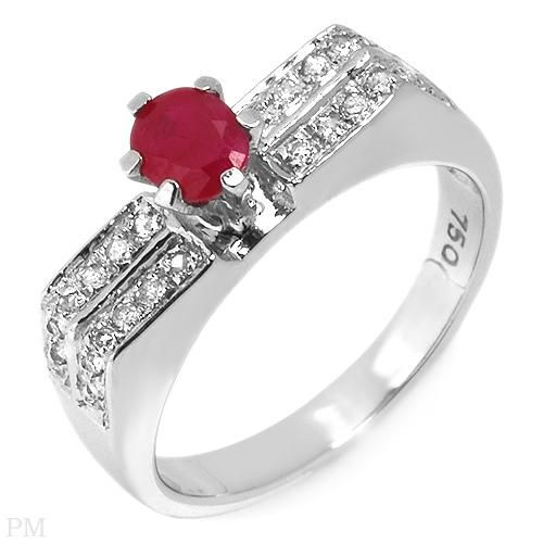 Rubin og Diamant Ring i 18 Karat Hvidguld.