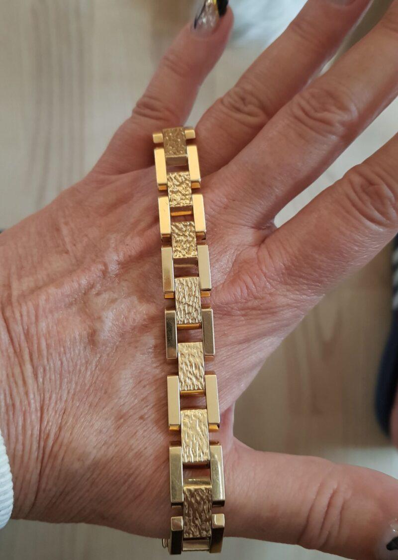 Blok Armlænke i Kraftig Satineret/Blank 14 Karat Guld på 22,5 g.