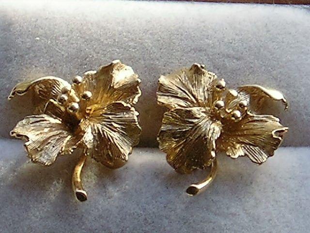 Blomster Øreringe i 14 Karat Guld.