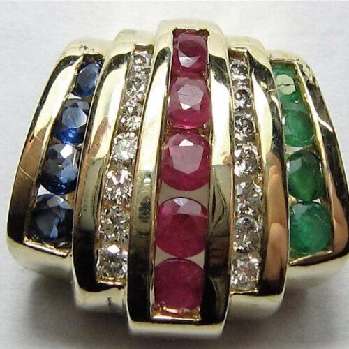 Oplukkeligt Vedhæng m. Rubiner, Safirer, Smaragder og Funklende Diamanter i 14 Karat Guld.