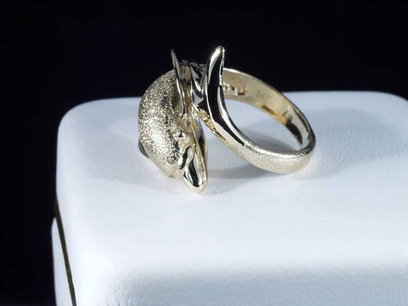 Delfin Ring i 14 Karat Guld m. Guldstøv