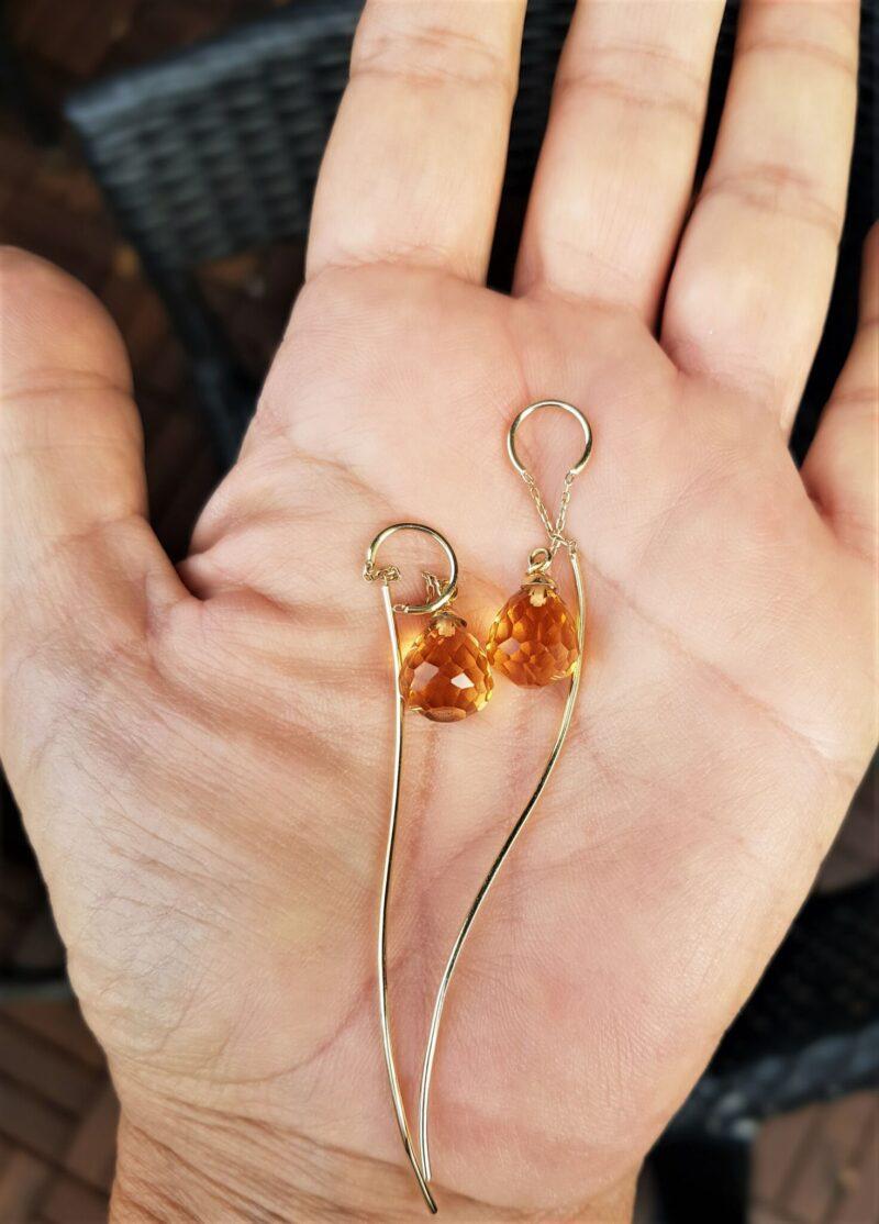 Ferskenfarvede topas øreringe