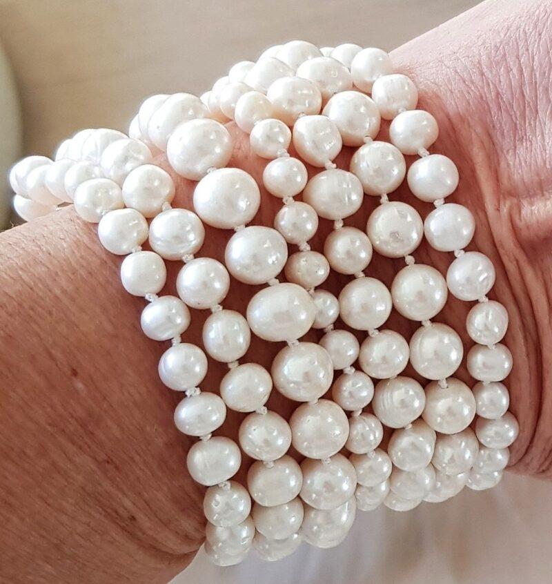 Akoya Perle Armbånd m. 7 Rækker Hvide Perler.